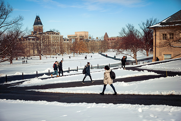 Winter sun warms the Arts Quad as students head to class