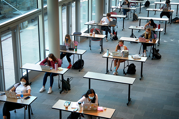 students in social distanced classroom