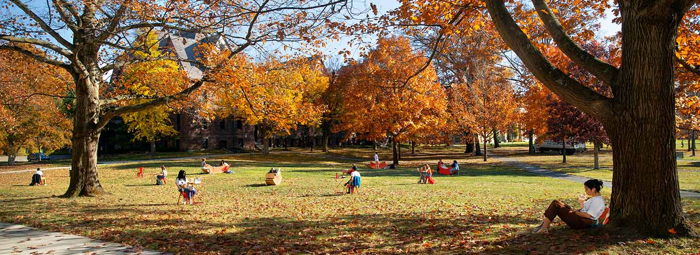 Students study and socialize on the Arts Quad