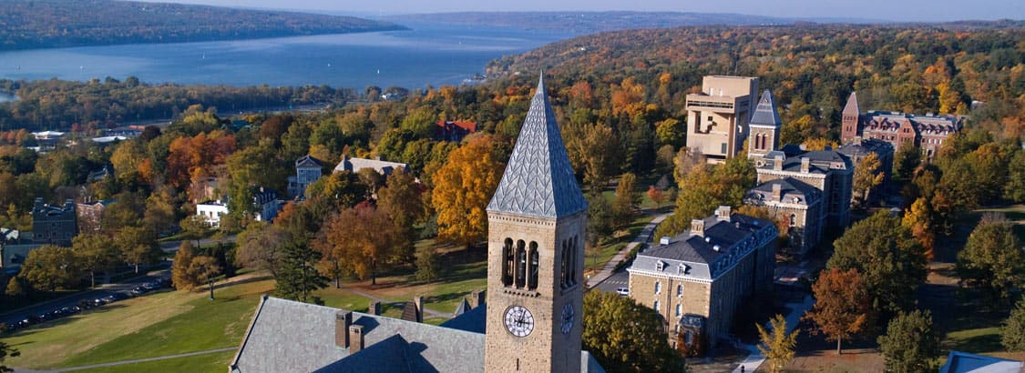 Arial view of McGraw Tower with Cayuga Lake in the background