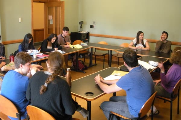 Hebrew language instructor, Nava Scharf, in her classroom with students