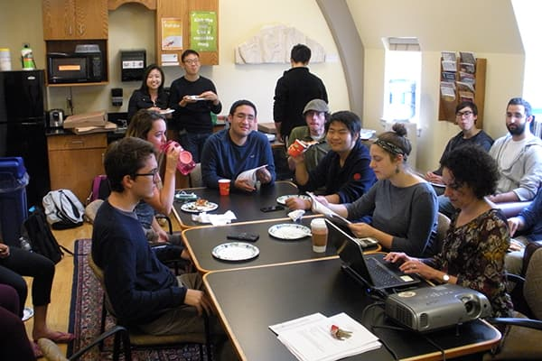 Cornell students attending an undergraduate lunch
