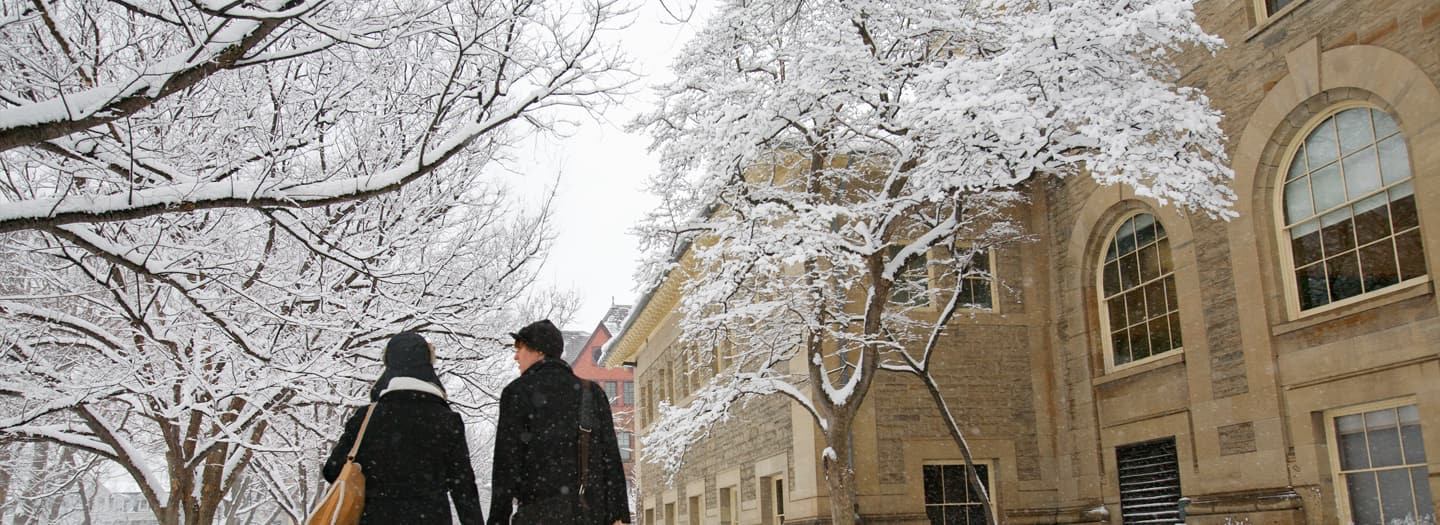 Sibley Hall in the snow