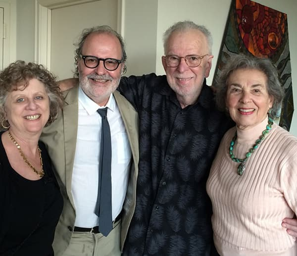 From left, Eileen Yagoda, professor Ross Brann, Dr. Bernard Yudowitz '55 and Evelyn Yudowitz '56 at the Yudowitzes' home in Miami in 2015.
