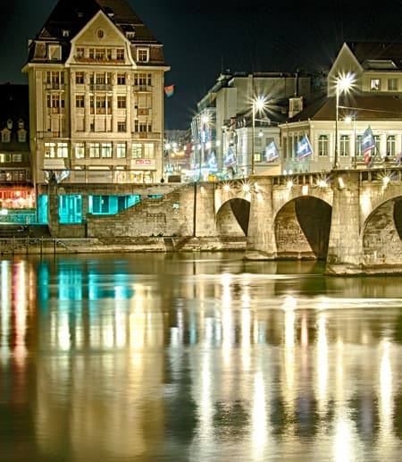 Basel, Switzerland, at night on the river