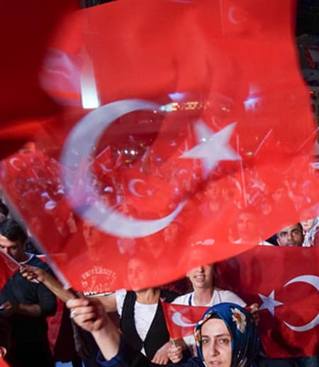 protestors waving Turkish flags