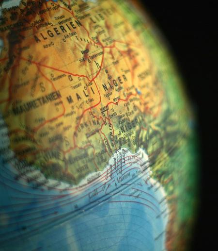 Globe focused on Middle East