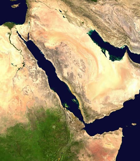 view from space of Syria and Yemen