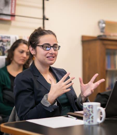 Seema Golestaneh addresses group of K-12 teachers