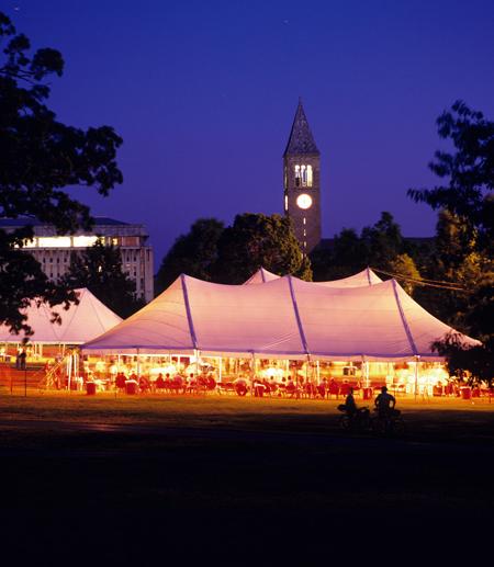 renuion tent light up at night