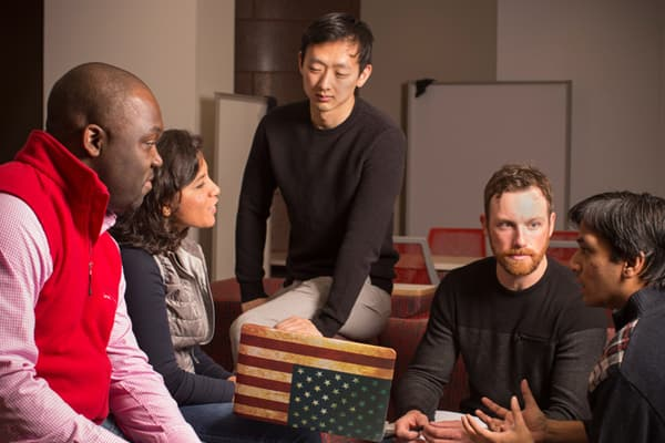 A group of students talking