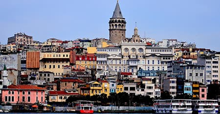 colorful panorama of Istanbul